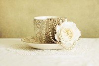 Antique Cup and Saucer with White Flower and Pearls Fine Art Print