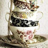 Antique Cups and Saucers with Pearls 1 Fine Art Print