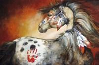 4 Feathers Indian War Pony Fine Art Print
