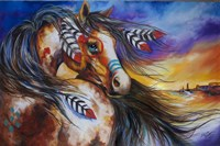 5 Feathers Indian War Horse Fine Art Print