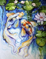 Koi Koi And Lily Fine Art Print
