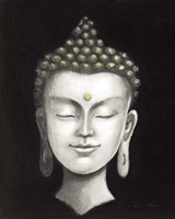 Serene Buddha I White Gold Fine Art Print