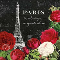 Rouge Paris II Black Fine Art Print