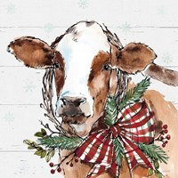 Holiday on the Farm VIII on Gray Fine Art Print