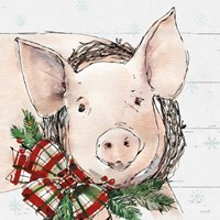Holiday on the Farm VII on Gray Fine Art Print