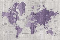 Old World Map Purple Gray Fine Art Print