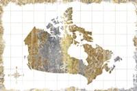 Gilded Map Canada Fine Art Print