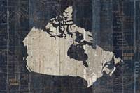 Old World Map Blue Canada Fine Art Print