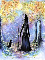 Witch and Black Cat Fine Art Print