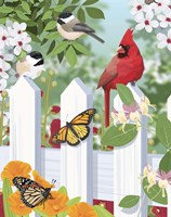 Garden Birds On Fence Fine Art Print