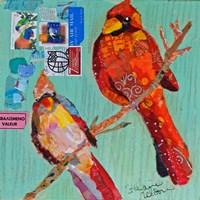 Lovebirds Cardinals Fine Art Print