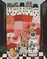 Patchwork Landscape En Rose Fine Art Print