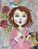 Bird Headed Girl with Nearsighted Dog Fine Art Print