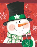 Snowman with Gift Fine Art Print