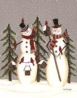 Snowy Day Snowmen Fine Art Print