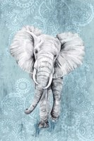 Blue Paisley Elephant Fine Art Print
