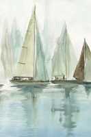 Blue Sailboats II Fine Art Print
