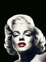 Red Lips Marilyn In Black Fine Art Print