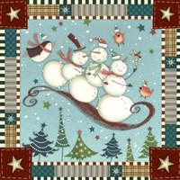Sledding Snowmen I Framed Print