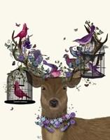 Deer Birdkeeper, Tropical Bird Cages Fine Art Print