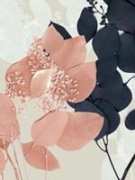 Indigo & Blush Leaves I Framed Print