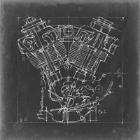 Motorcycle Engine Blueprint I Fine Art Print