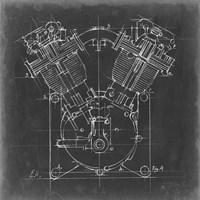 Motorcycle Engine Blueprint II Fine Art Print