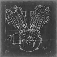 Motorcycle Engine Blueprint III Framed Print