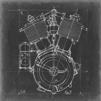 Motorcycle Engine Blueprint IV Fine Art Print