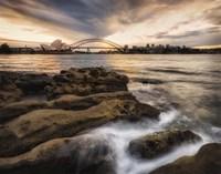 Sydney in Gold and Blue Framed Print