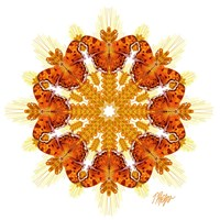 Comma Butterfly Wheat Mandala Fine Art Print