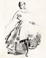 Vintage Costume Sketch II Fine Art Print