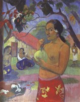 Woman Holding a Fruit, Where Are You Going Fine Art Print