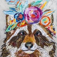 Raccoon Floral Fine Art Print