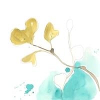 Teal and Ochre Ginko V Fine Art Print