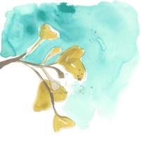 Teal and Ochre Ginko VIII Fine Art Print