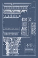 Column & Cornice Blueprint III Framed Print