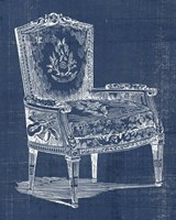 Antique Chair Blueprint I Framed Print