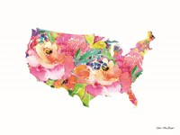 Floral USA Map Fine Art Print