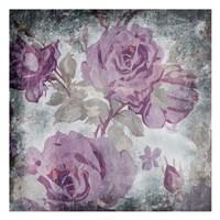 Purple Grey Flowers Mate Framed Print