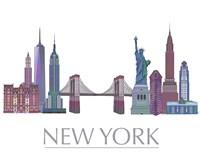 New York Skyline Coloured Buildings Framed Print