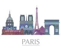 Paris Skyline Coloured Buildings Framed Print