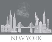 New York Skyline Monochrome Framed Print