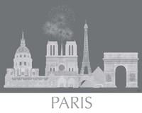 Paris Skyline Monochrome Framed Print