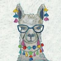 Llama Love with Glasses II Fine Art Print