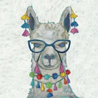 Llama Love with Glasses II Fine Art Print