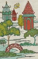 Pagoda Landscape I Framed Print