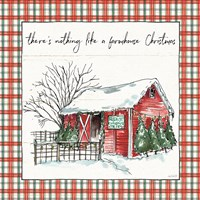Holiday on the Farm IV Plaid Fine Art Print