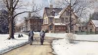 Winter Walk to Class Framed Print