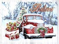 Red Truck Christmas Framed Print